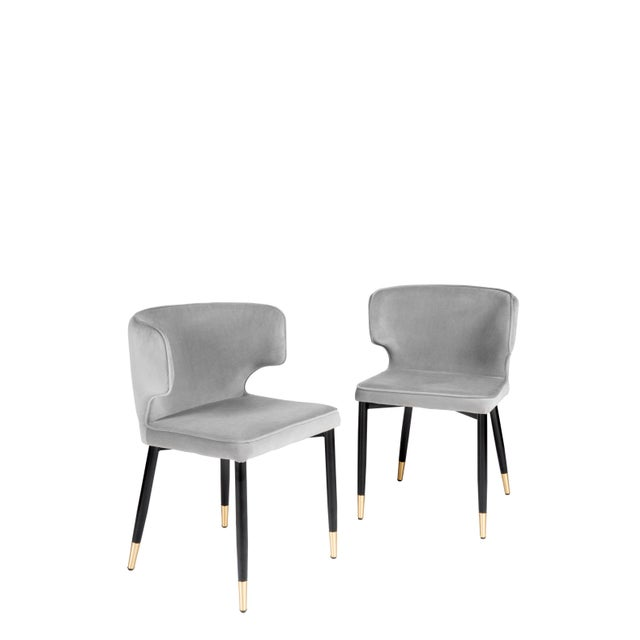 Contemporary Kayla Upholstered Dining Chairs in Gray Velvet - a Pair For Sale In Los Angeles - Image 6 of 7