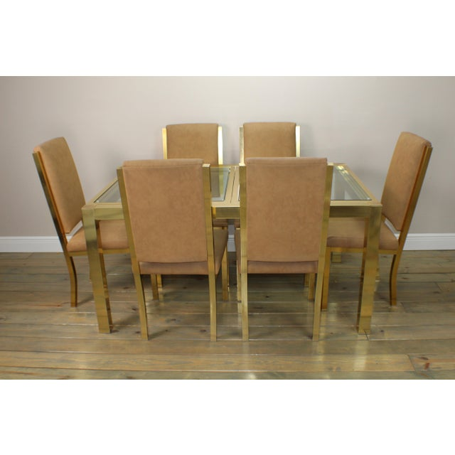 1990s Mid-Century Modern Brass Dining Table and Chairs - 7 Piece Set For Sale - Image 11 of 11