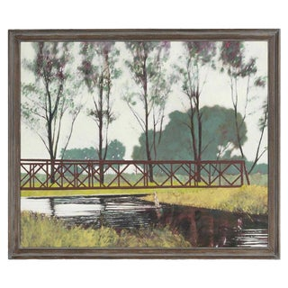 Late 20th Century Framed Oil on Canvas Lake Scene Painting For Sale