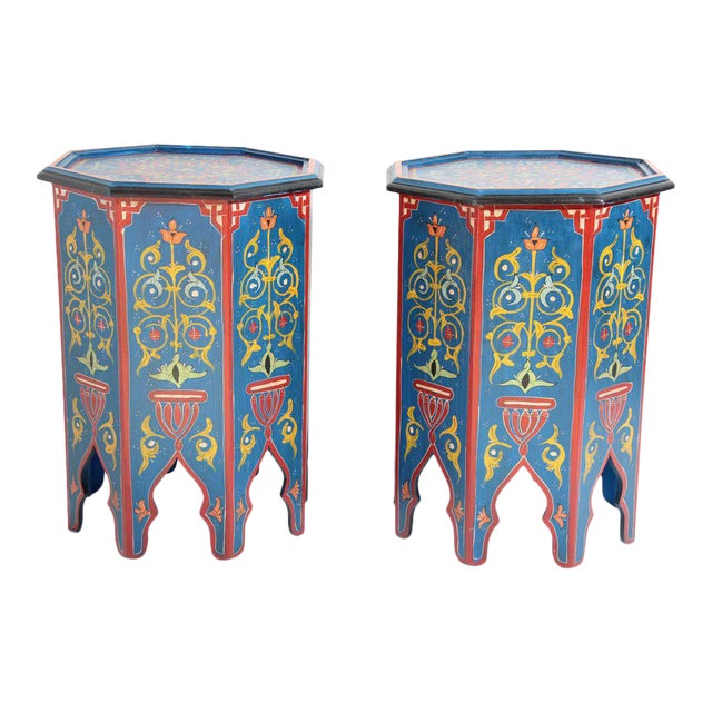 Hand Painted Blue Moroccan Pedestal Tables - a Pair For Sale