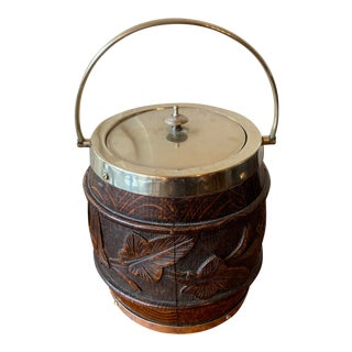 Carved English Oak Biscuit Barrel For Sale
