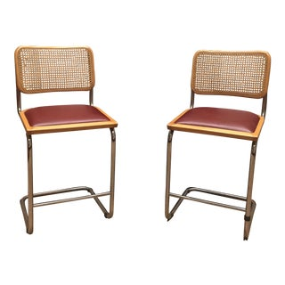 Marcel Breuer Cantilevered Cane Back Stools - A Pair