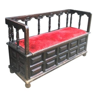 Late 19th Century Antique Spanish Gothic Hall Bench For Sale