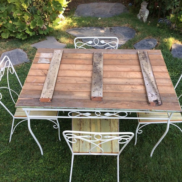 Vintage Woodard Metal and Bead Board Patio Set - Table and 4 Chairs For Sale - Image 12 of 13