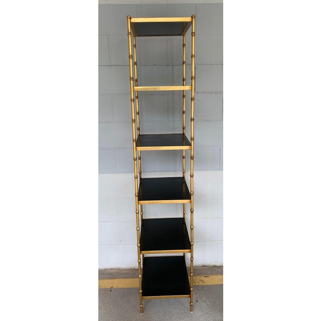 Late 20th Century Gilt Metal & Lacquered Faux Bamboo Étagère in the Style of Maison Jansen For Sale - Image 5 of 10