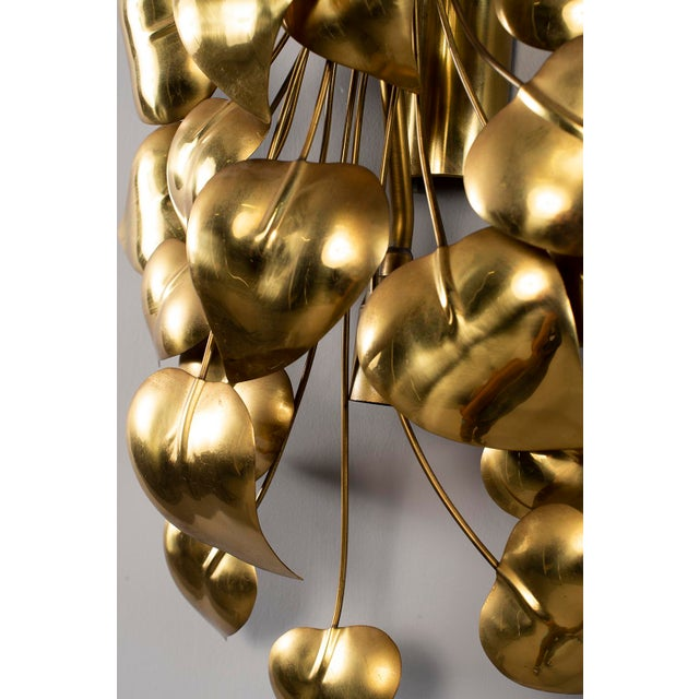 Cascading Leaves Gilt Metal Light Fixture Attributed to Maison Jansen For Sale - Image 11 of 13