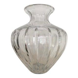 Vintage Large Heavy Bulbous Cut Crystal Vase For Sale