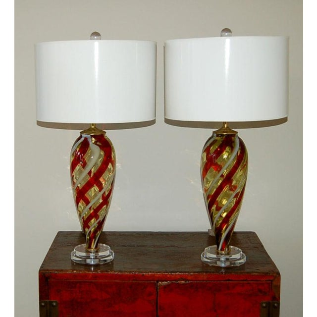Murano Vintage Italian Glass Teardrop Table Lamps Amber White For Sale - Image 4 of 7