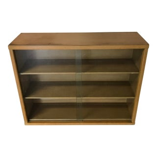 Mid-Century Vintage Oak Cabinet With Shelves and Glass Doors For Sale