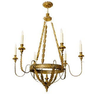 Milano Italian Six Arm Giltwood & Gilt-Metal Chandelier by Randy Esada Designs For Sale