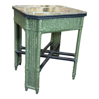 Cottage Painted Woven Wood Glass Top Occasion Table For Sale