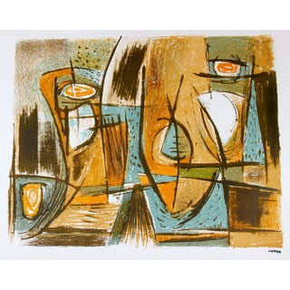 Mid Century Abstract in Ochre and Blue, Lithograph