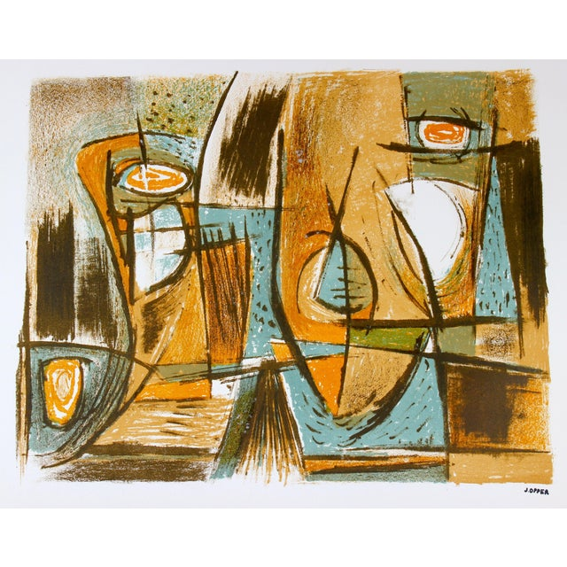 Mid Century Abstract in Ochre and Blue, Lithograph For Sale