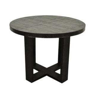 20th Century Italian Serge Se Troyer Alligator Embossed Leather Round Center Table For Sale