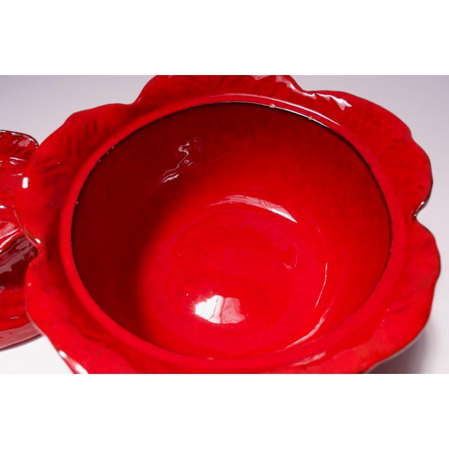 Red Vintage Italian Pv Peasant Village Red Ceramic Punch Bowl Set For Sale - Image 8 of 13