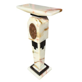 Art Deco Chiparus Style Light Up Marble Pedestal For Sale