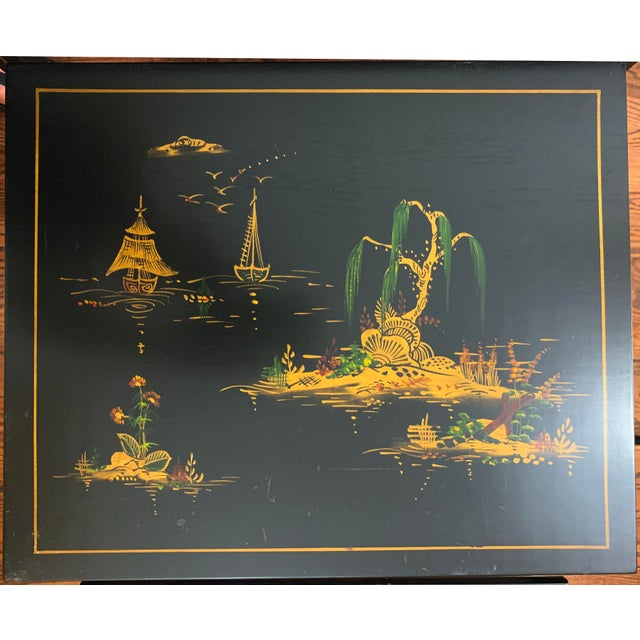 Black 1940s Japanese Black Lacquer Nesting Table With Hand Painting - Set of 3 For Sale - Image 8 of 13