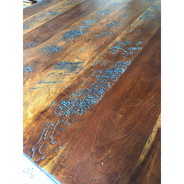 Brown Wright Table Company Classic Distressed Hard Wood Farm Table For Sale - Image 8 of 13