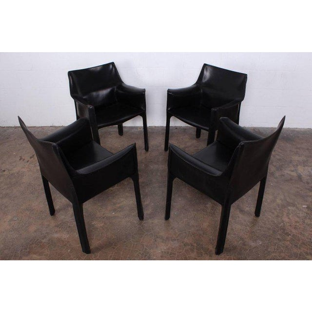 Set of Four Cab Armchairs by Mario Bellini for Cassina For Sale - Image 9 of 11