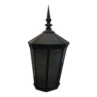 Large Vintage Cast Bronze Post Light Lantern For Sale