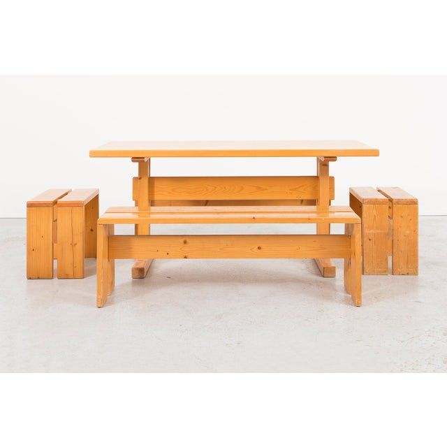 Wood Les Arcs Pine Dining Table by Charlotte Perriand For Sale - Image 7 of 9