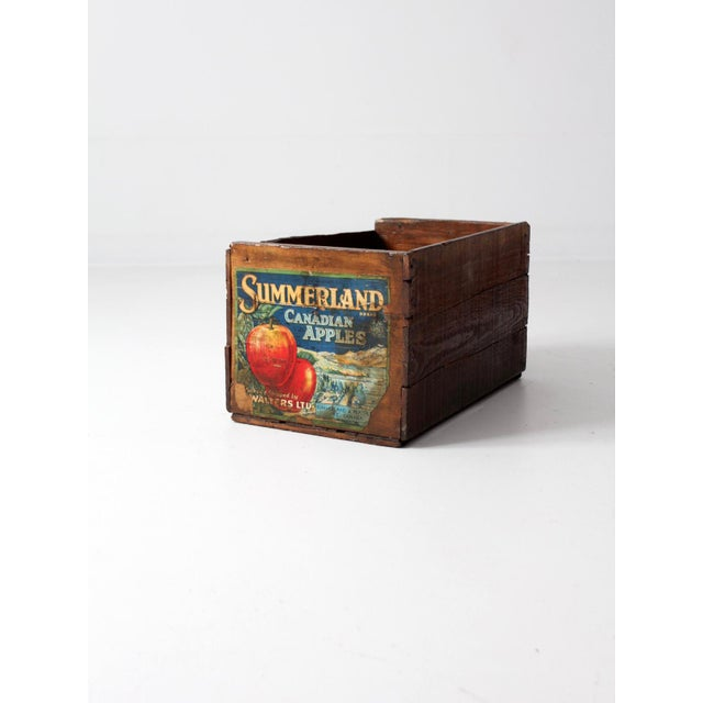 Vintage Apple Crate Wood Box - Image 2 of 7