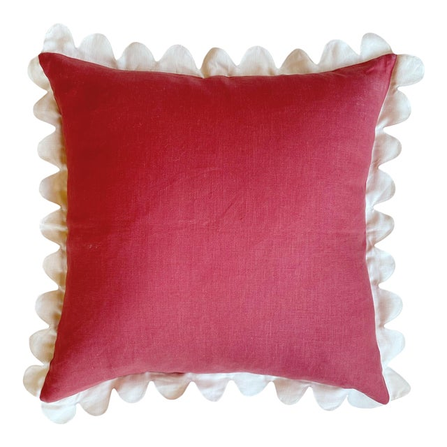 Carly Home Red & Ivory Linen Scalloped Pillow For Sale