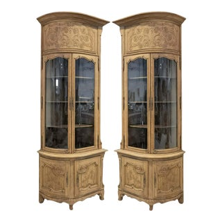 Pair of 19th Century Louis XV Style Bleached Oak Chateau Corner Cabinets For Sale