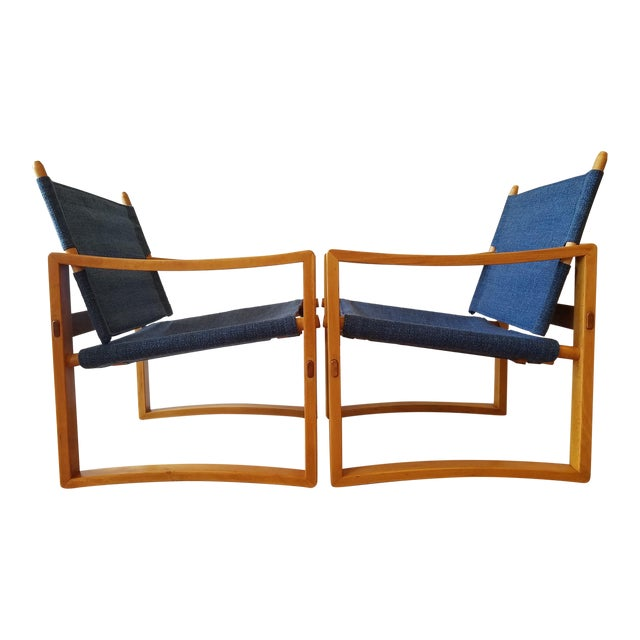 Newly-Upholstered Borge Jensen Danish Safari Sling Chairs - a Pair For Sale