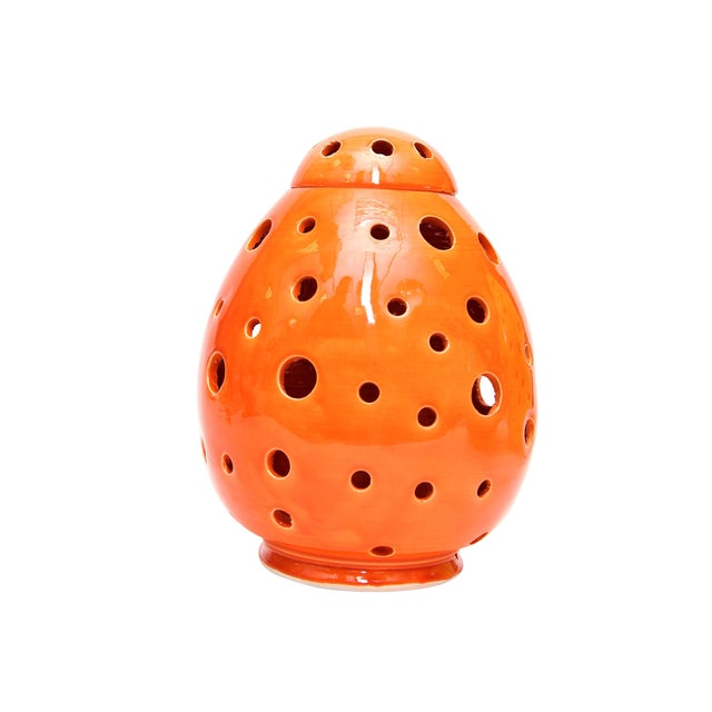 Moroccan Hand Painted Orange Egg Lamp Shell - Image 1 of 3