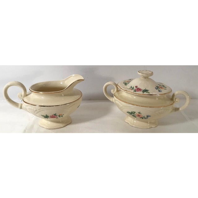 Homer Laughlin Floral Creamer and Sugar Bowl For Sale - Image 11 of 11