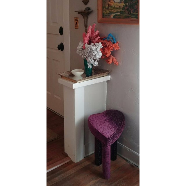 Modern aubergine cut velvet heart shape vanity chair is perfect for a pop of color at the make up vanity or an occasional...