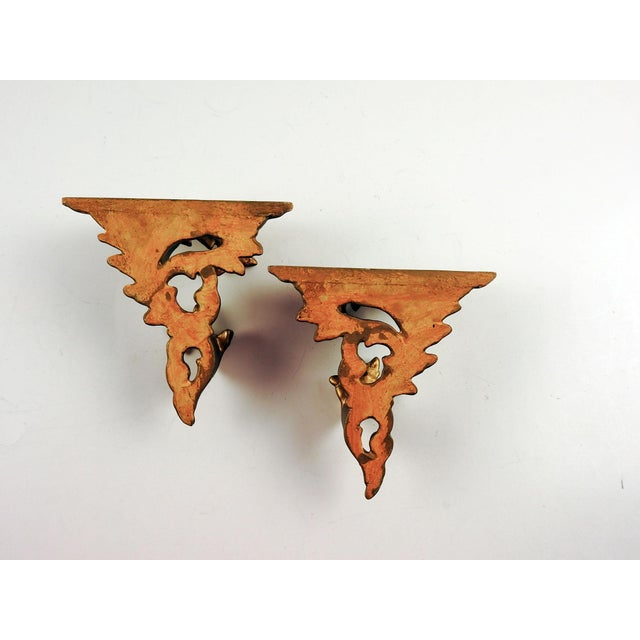Italian Carved Gilt Wood Wall Shelf Brackets - a Pair For Sale - Image 4 of 5