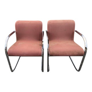 1970s Vintage Thonet Cantilever Lounge Chairs- A Pair For Sale