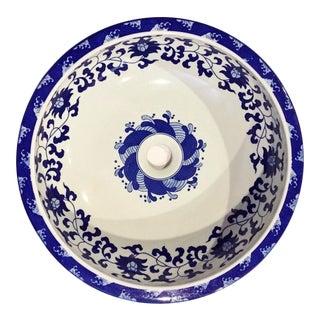 Blue & White Waterlily Porcelain Sink