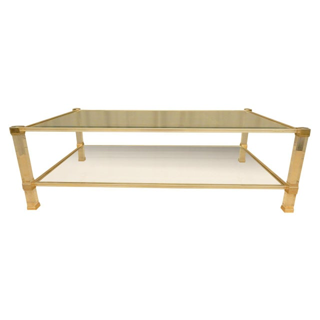 Metal Pierre Vandel Mid-Century Modern Brass and Glass Coffee Table For Sale - Image 7 of 7