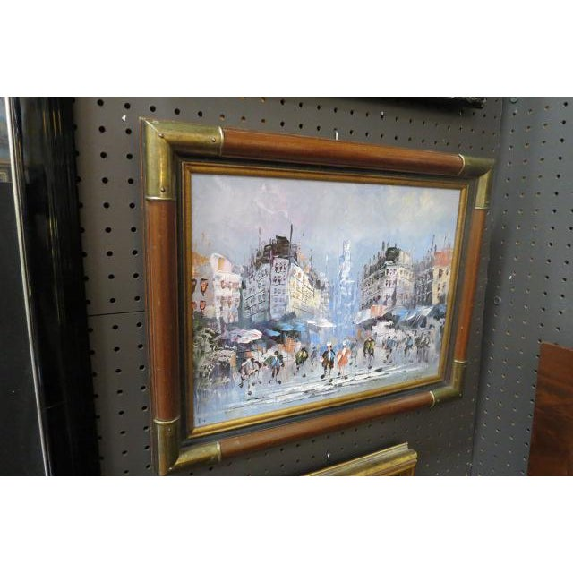 1990s Impressionist Inspired French Street Scene Oil Painting For Sale - Image 4 of 5