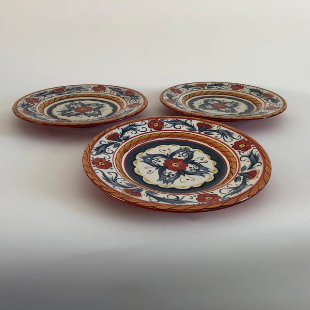 """Contemporary Contemporary """"Tabletops Gallery ITALIANO""""Hand Painted Salad Plates S/3 For Sale - Image 3 of 5"""