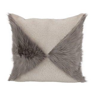 Beige Mixed Sheepskin Pillow by Tasha Tarno For Sale