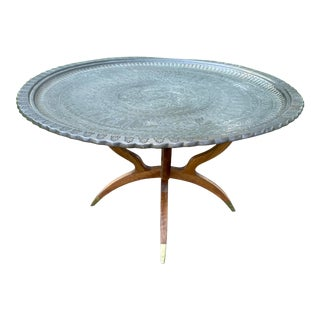 Mid-Century Modern Brass Tray Top Folding Stand Table For Sale