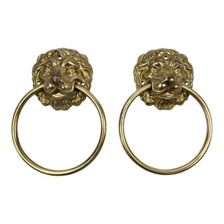 Brass Vintage Lion Head Towel Rings - A Pair