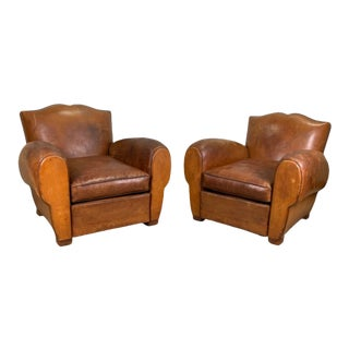 Mid Century French Leather Club Chair - a Pair For Sale
