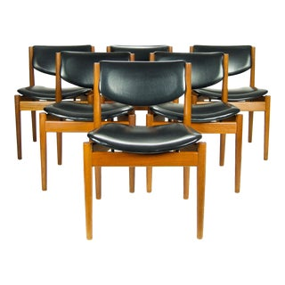 Finn Juhl Black & Teak Dining Chairs - Set of 6 For Sale