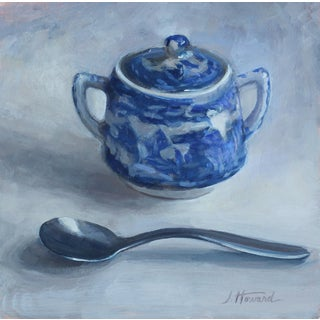 """Sugarbowl and Spoon"" Contemporary Still Life Acrylic Painting For Sale"