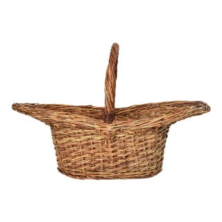 Rare Antique 19th-Century Woven Willow Basket For Sale