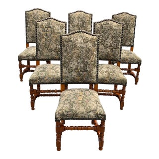 1900s French Louis XIII Style Solid Walnut Dining Chairs - Set of 6 For Sale