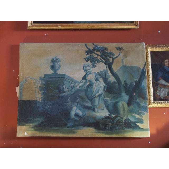 Blue 18th Century French Grisaille Painting For Sale - Image 8 of 8