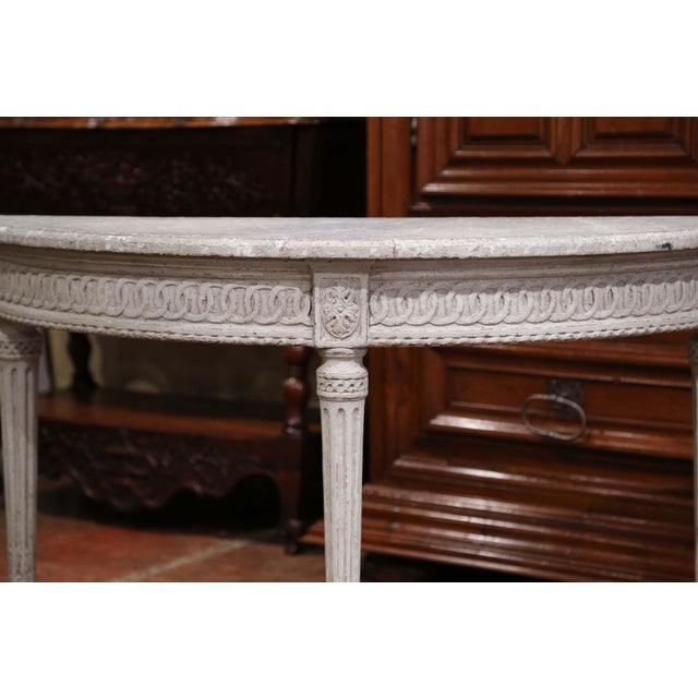 Late 19th Century Pair of 19th Century Louis XVI Carved Painted Demi-Lune Console Tables For Sale - Image 5 of 9