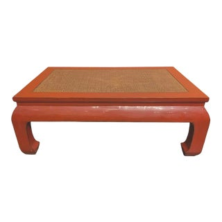 Ming Style Rattan Insert Coffee Table For Sale