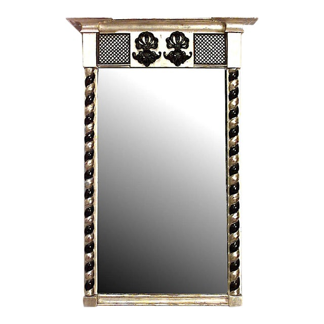 English Regency Gilt and Black Lacquered Wall Mirror For Sale
